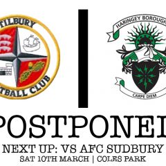 Update: The away match against Tilbury FC has been postponed!