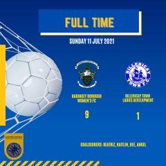 11 July 2021 – Full time – Boro Ladies win 9 -1 against Billericay Town Ladies Development